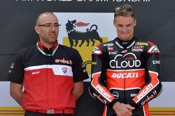 Race winner Chaz Davies, Ducati Team, on the podium
