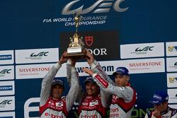 Race winners Benoit Tréluyer, Marcel Fassler, Andre Lotterer