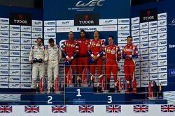 GTE Pro podium: winners Gianmaria Bruni, Toni Vilander, second place Richard Lietz, Michael Christen