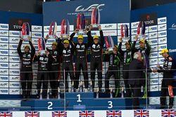 LMP2 podium: winners Roman Rusinov, Julien Canal, Sam Bird, second place Gustavo Yacaman, Pipo Deran