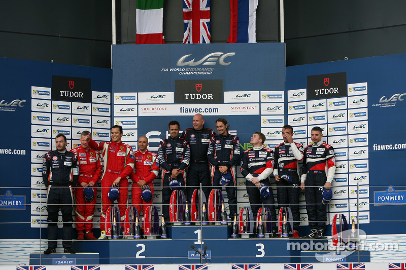 GTE Am podium: winners Paul Dalla Lana, Mathias Lauda, Pedro Lamy, second place François Perrodo, Em
