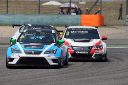 Stefano Comini, SEAT Leon Racer, Target Competition; Gianni Morbidelli, Honda Civic TCR, West Coast Racing, und Stefano Comini, SEAT Leon Racer, Target Competition