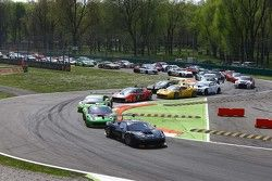 Start: #66 Black Pearl Racing by Rinaldi Ferrari 458 Italia: Steve Parrow, Pierre Kaffer leads