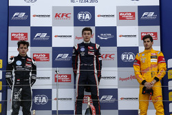 Podium: second place Charles Leclerc, Van Amersfoort Racing and winner George Russell, Carlin and Antonio Giovinazzi, Jagonya Ayam with Carlin