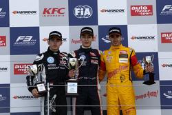 Podium: second place Charles Leclerc, Van Amersfoort Racing and winner George Russell, Carlin and third place Antonio Giovinazzi, Jagonya Ayam with Carlin Dallara