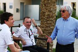 Toto Wolff, Paddy Lowe et Bernie Ecclestone