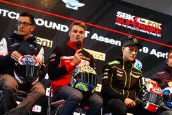Ayrton Badovini, BMW Motorrad Italia, Chaz Davies, Ducati Team et Jonathan Rea, Kawasaki