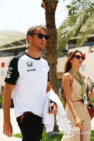 Jenson Button McLaren with his wife Jessica Button.