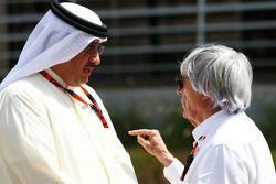 Sheikh Mohammed bin Essa Al Khalifa CEO of the Bahrain Economic Development Board and McLaren Shareholder with Bernie Ecclestone.