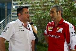 Eric Boullier, McLaren Racing Director dan Maurizio Arrivabene, Ferrari Team Principal