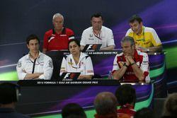 The FIA Press Conference,): John Booth, Manor F1 Team Team Principal; Eric Boullier, McLaren Racing Director; Rob White, Renault Sport Deputy Managing Director,; Toto Wolff, Mercedes AMG F1 Shareholder and Executive Director; Monisha Kaltenborn, Sauber Te