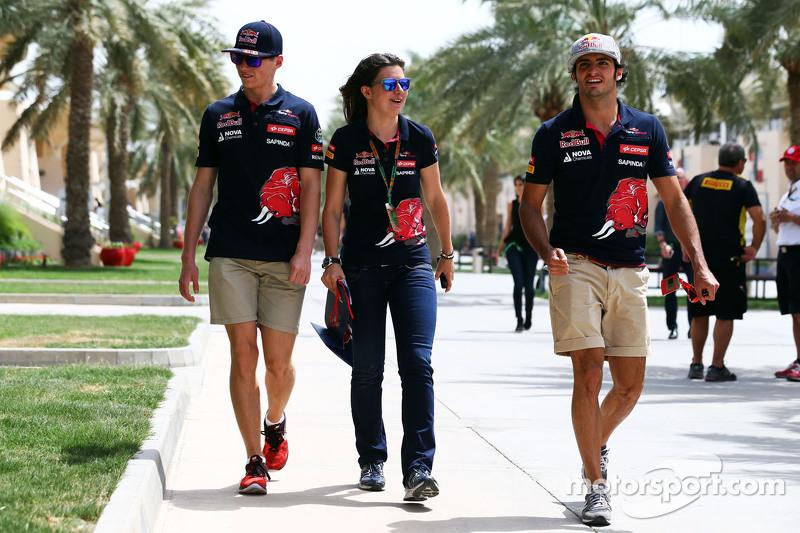 Max Verstappen con Tabatha Valls y Carlos Sainz Jr., Scuderia Toro Rosso