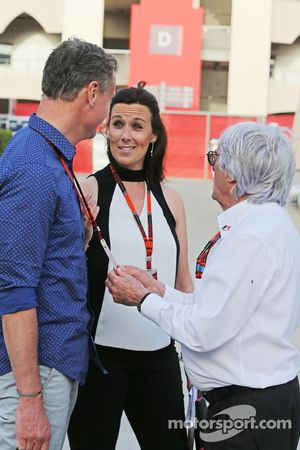 David Coulthard, Red Bull Racing and Scuderia Toro Advisor / BBC Television Commentator with Lee McKenzie, BBC Television Reporter and Bernie Ecclestone