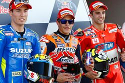 Polesitter Marc Marquez, Repsol Honda Team, second place Aleix Espargaro, Team Suzuki MotoGP, third place Andrea Iannone, Ducati Team