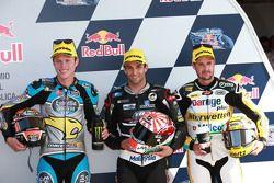 Le deuxième, Tito Rabat, Estrella Galicia 0,0 Marc VDS, le poleman Johann Zarco, Ajo Motorsport, et le troisième Thomas Luthi, Derendinger Racing Interwetten