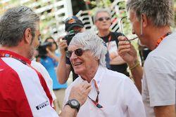 Maurizio Arrivabene, Ferrari Team Principal with Bernie Ecclestone, and Eddie Jordan, BBC Television Pundit