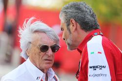 Bernie Ecclestone und Maurizio Arrivabene, Ferrari-Teamchef