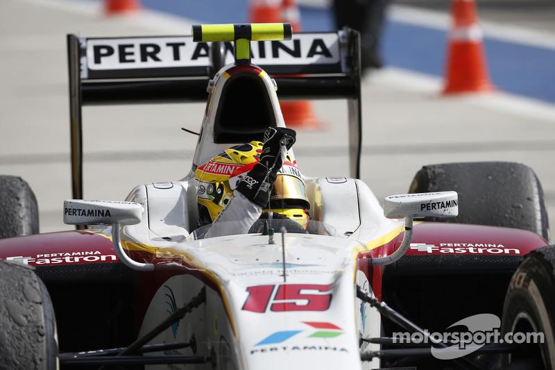 Rio Haryanto berhasil meraih kemenangan perdananya di GP2 bersama Campos Racing.