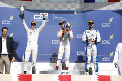 Winner Rio Haryanto, Campos Racing and second place Stoffel Vandoorne, ART Grand Prix and third place Nathanael Berthon, Lazarus