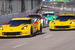 #3 Corvette Racing Chevrolet Corvette C7.R: Jan Magnussen, Antonio Garcia and #4 Corvette Racing Chevrolet Corvette C7.R: Oliver Gavin, Tommy Milner