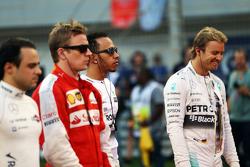Felipe Massa, Williams; Kimi Räikkönen, Ferrari; Lewis Hamilton, Mercedes AMG F1 und Nico Rosberg, M