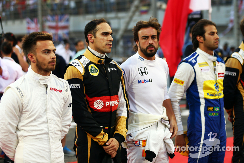 Will Stevens, Manor F1 Team; Pastor Maldonado, Lotus F1 Team; Fernando Alonso, McLaren, und Felipe N