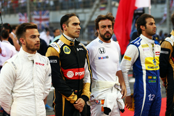 Will Stevens, Manor F1 Team; Pastor Maldonado, Lotus F1 Team; Fernando Alonso, McLaren and Felipe Na