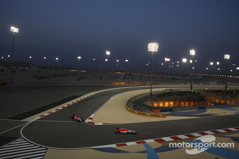 Roberto Merhi, Manor F1 Team leads team mate Will Stevens, Manor F1 Team
