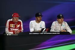 The post race FIA Press Conference Kimi Raikkonen, Ferrari, second; Lewis Hamilton, Mercedes AMG F1, race winner; Nico Rosberg, Mercedes AMG F1, third