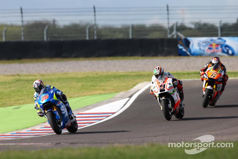 Maverick Viñales, Team Suzuki MotoGP; Danilo Petrucci, Pramac Ducati, und Stefan Bradl, Athina Forwa