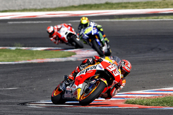 Marc Marquez, Repsol Honda Team and Valentino Rossi, Yamaha Factory Racing and Andrea Dovizioso, Ducati Team