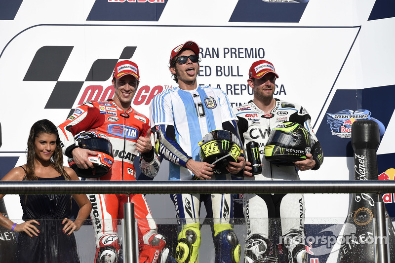 Podium: second place Andrea Dovizioso, Ducati Team and winner Valentino Rossi, Yamaha Factory Racing and third place Cal Crutchlow, Team LCR Honda
