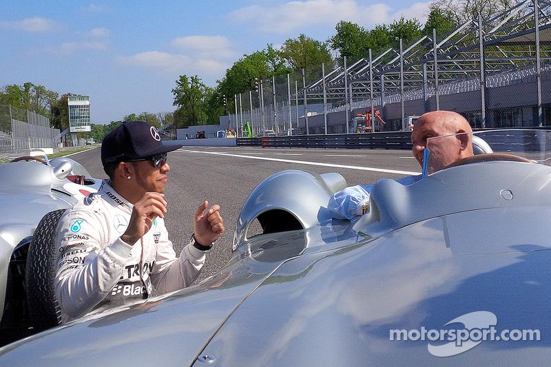 Lewis Hamilton, Mercedes F1 y Sir Stirling Moss en Monza
