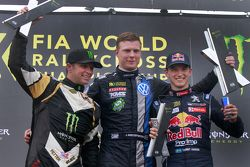 Podium: second place Petter Solberg, SDRX and winner Johan Kristoffersson, Volkswagen Team Sweden and third place Timmy Hansen, Peugeot Hansen