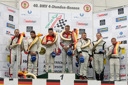 Podium: second place Pierre Kaffer and Laurens Vanthoor and winners Christopher Mies and Nico Müller