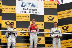 Podium: 2. Pascal Wehrlein, HWA AG, Mercedes-AMG C63 DTM; 1. Jamie Green, Audi Sport Team Rosberg, A