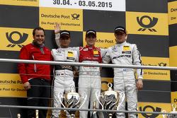 Podio, segundo Pascal Wehrlein, HWA AG Mercedes-AMG C63 DTM, primero Jamie Green, Audi Sport Team Ro