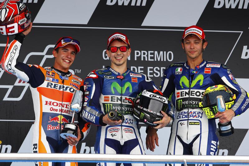2015: 1. Jorge Lorenzo, 2. Marc Marquez, 3. Valentino Rossi