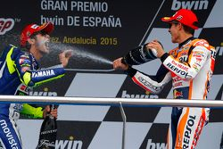 2. Marc Marquez, Repsol Honda Team; 3. Valentino Rossi, Yamaha Factory Racing
