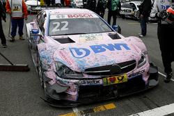 El auto de Lucas Auer, ART Grand Prix Mercedes-AMG C63 DTM después del accidente.