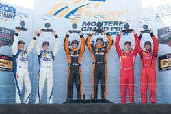 PC领奖台: 比赛获胜者#11 RSR Racing Oreca FLM09雪佛兰赛车:Chris Cumming, Bruno Junqueira;第二名#54 CORE autosport Ore