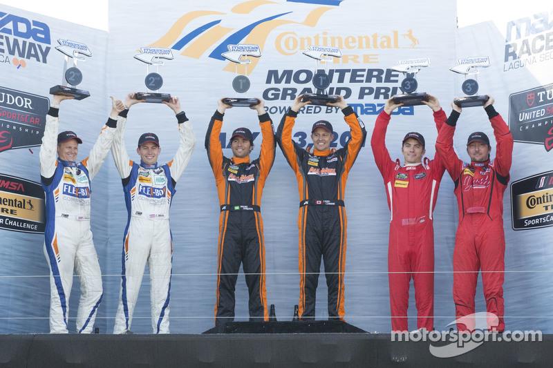 PC Podium: Los ganadores, #11 RSR Racing Oreca FLM09 Chevrolet: Chris Cumming, Bruno Junqueira, Segu