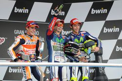 Podium: race winner Jorge Lorenzo, second place Marc Marquez, third place Valentino Rossi