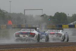 #23 Saintéloc Racing Audi R8 LMS Ultra : Marc Sourd, Jean-Paul Buffin, Marc Basseng et #24 Saintéloc Racing Audi R8 LMS Ultra : Romain Monti, Valentin Simonet, Pierre Sancinena