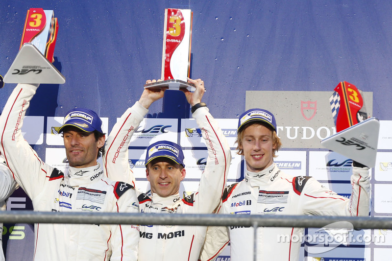 Podium: third place Mark Webber, Timo Bernhard, Brendon Hartley