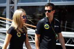 (L to R): Carmen Jorda, Lotus F1 Team Development Driver with Jolyon Palmer, Lotus F1 Team Test and Reserve Driver