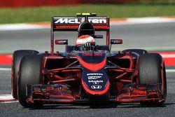 Jenson Button, McLaren MP4-30, fährt mit Flow-Viz-Farbe am gesamten Auto