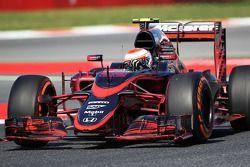 Jenson Button, McLaren MP4-30 corre flujo sobre el auto