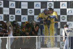 Podium GS : célébration au champagne