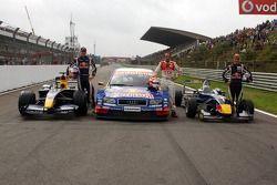 Red Bull demo: Robert Doornbos, Marco Werner and Sebastian Vettel